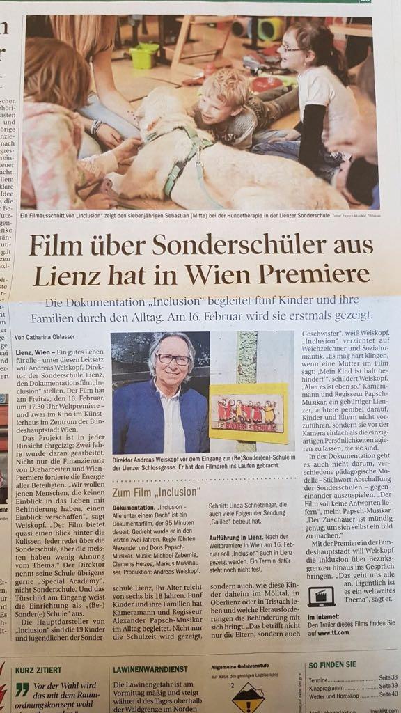 Inclusion film tiroler tageszeitung